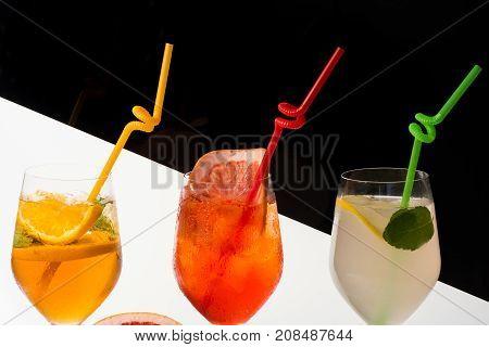 Cocktails On Black Background.