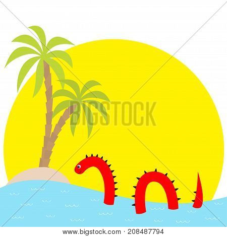 Water monster thorns eye tail Swimming floating Sea ocean sunset palm island. Snake shape. Loch Ness Nessy fictional creature. Cute cartoon character. Baby collection. Flat White background Vector