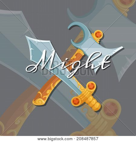 Vector fantasy cartoon style game design medieval crossed axe and sword elements with lettering and shadows illustration