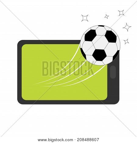 Genering tablet PC gadget. Tab with blank screen. Soccer ball flying from touch screen. Star shining speed shape. Green grass field. Flat design. White background. Isolated. Vector illustration
