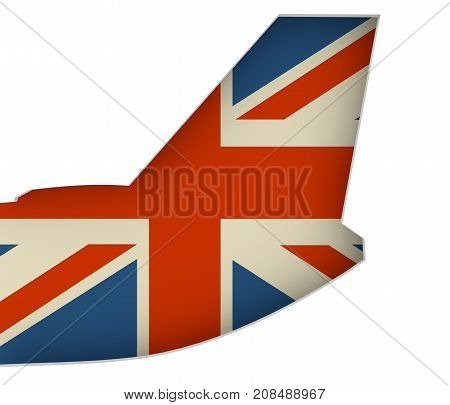 An airplane tail. Great Britain flag as backdrop. 3D rendering