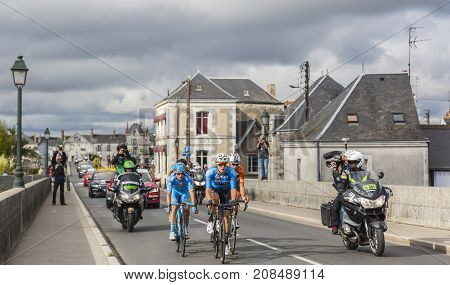 AmboiseFrance - October 82017: The breakaway passing on the bridge in Amboise during the Paris-Tours road cycling race.