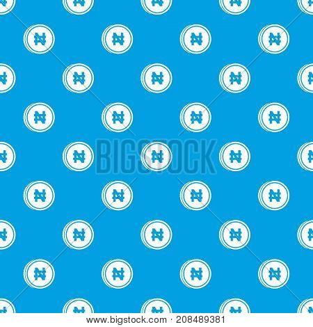 Coin naira pattern repeat seamless in blue color for any design. Vector geometric illustration