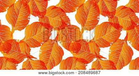 Autumn sale pattern with seamless leaves pattern. Colorfull stamp drawn leaves. Vector illustartion. Bright colors