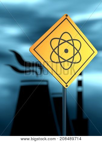 Atomic power station silhouette. Nuclear security theme. Warning yellow road sign with atom model icon. 3D rendering