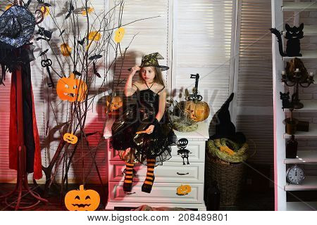 Halloween Party And Celebration Concept. Girl With Confused Face