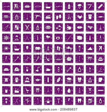 100 hygiene icons set in grunge style purple color isolated on white background vector illustration
