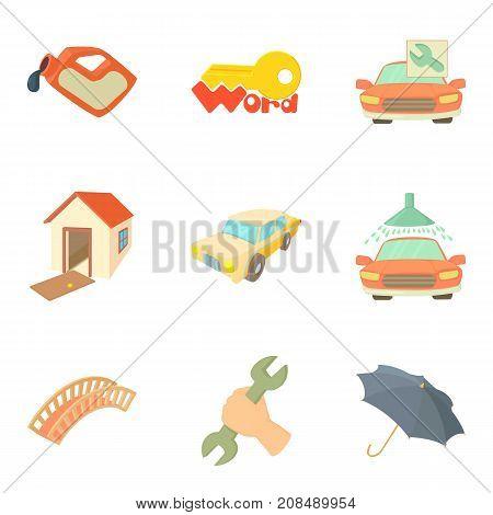 Infrastructure development icons set. Cartoon set of 9 infrastructure development vector icons for web isolated on white background