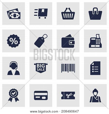 Collection Of Cargo, Advertising, Ticket And Other Elements.  Set Of 16 Shopping Icons Set.