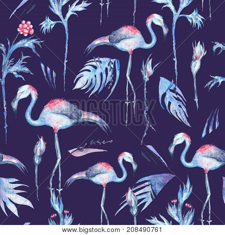 Seamless texture with exotic flowers and flamingo birds on indigo background