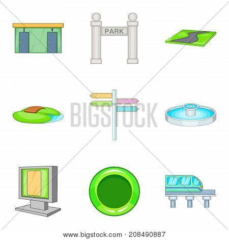 Public place icons set. Cartoon set of 9 public place vector icons for web isolated on white background