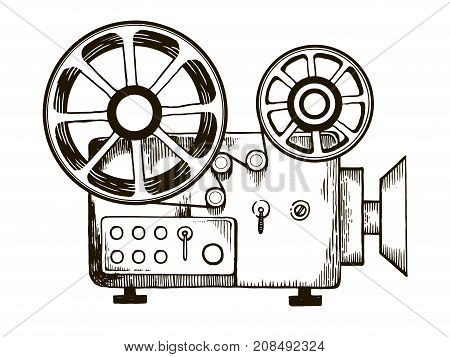 Old cinema projector engraving vector illustration. Scratch board style imitation. Hand drawn image.