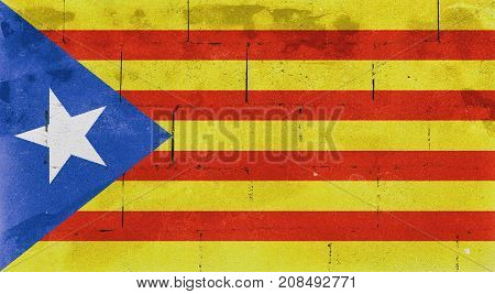 Flag Of Catalonia On A Wall