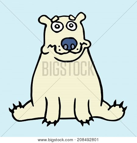 Cartoon lonely polar bear sitting and looking. Vector illustration. Digital drawing melancholy cute animal character.