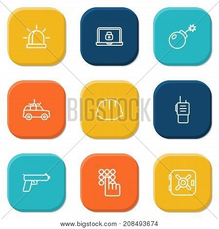 Collection Of Lock, Safe, Keypad And Other Elements.  Set Of 9 Procuring Outline Icons Set.