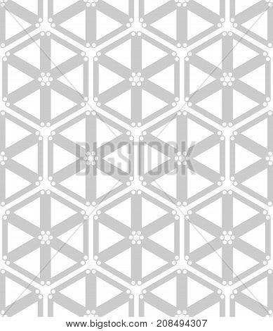 Seamless hexagons and triangles pattern. Geometric latticed texture. Vector art.