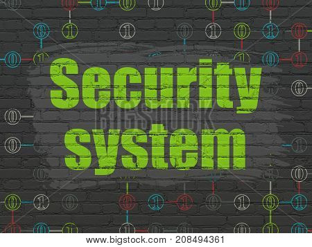 Privacy concept: Painted green text Security System on Black Brick wall background with Scheme Of Binary Code