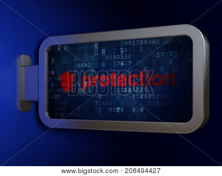 Privacy concept: Protection and Shield on advertising billboard background, 3D rendering