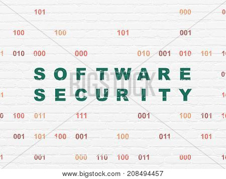 Privacy concept: Painted green text Software Security on White Brick wall background with Binary Code