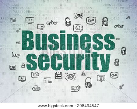 Security concept: Painted green text Business Security on Digital Data Paper background with  Hand Drawn Security Icons