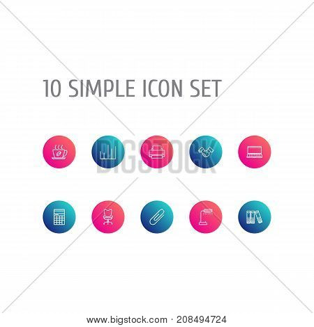 Collection Of Document Case, Counter, Fastener Paper And Other Elements.  Set Of 10 Bureau Outline Icons Set.