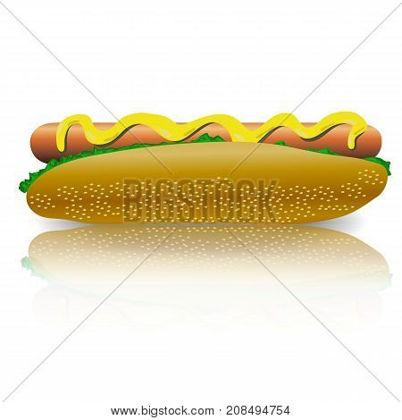 Tasty Delicious Hot Dog with Mustard. Street Fast Food. High Calorie Meal
