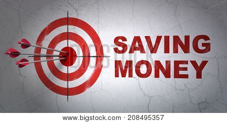 Success finance concept: arrows hitting the center of target, Red Saving Money on wall background, 3D rendering
