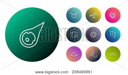 Collection Of Leo, Asteroid, Virgo And Other Elements.  Set Of 10 Astronomy Outline Icons Set.
