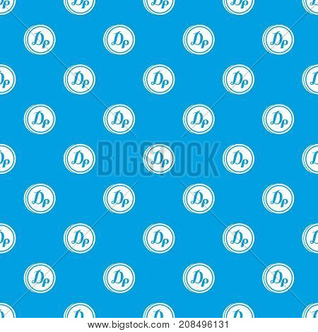 Coin drachma pattern repeat seamless in blue color for any design. Vector geometric illustration