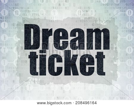 Finance concept: Painted black text Dream Ticket on Digital Data Paper background with  Scheme Of Binary Code
