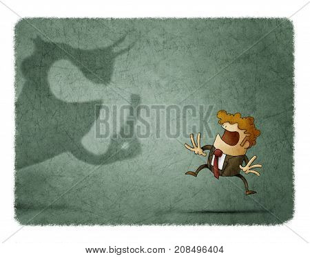 scared businessman looks at a big shadow that shouts at him