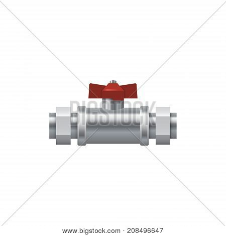 Details pipes with red valve. Plumbing valve. Vector Illustration.