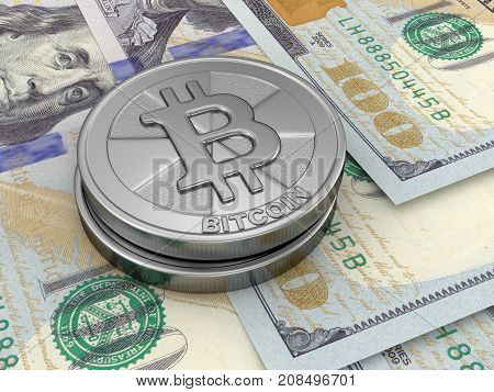 3d Illustration. Image of Dollars and Bitcoin