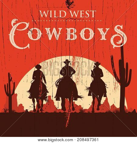 Silhouette of three cowboys riding horses on a wooden board