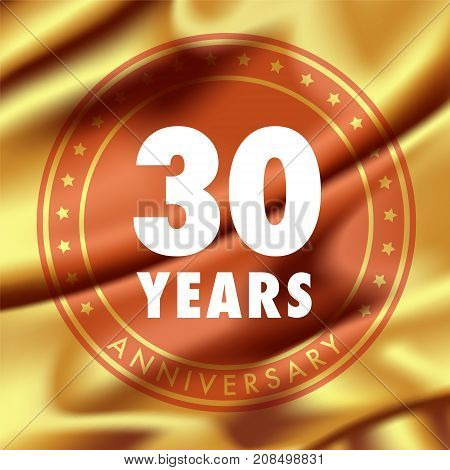 30 years anniversary vector icon logo. Template design element with golden medal in silk for 30th anniversary greeting card can be used as decoration element