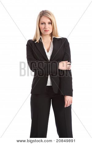 Serious Blonde Business Woman In Black Suit