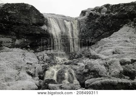 Sheep's Waaterfall Iceland In Infrared