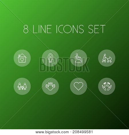 Collection Of Skipping Rope, Stroller, Family And Other Elements.  Set Of 8 Relatives Outline Icons Set.