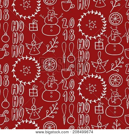 Vector seamless pattern. Simple black and white doodle. Snowman, garland, citrus, angel, present, twig on red. Xmas, New Year wrapping paper, greeting card, party decoration flyer banner invitation