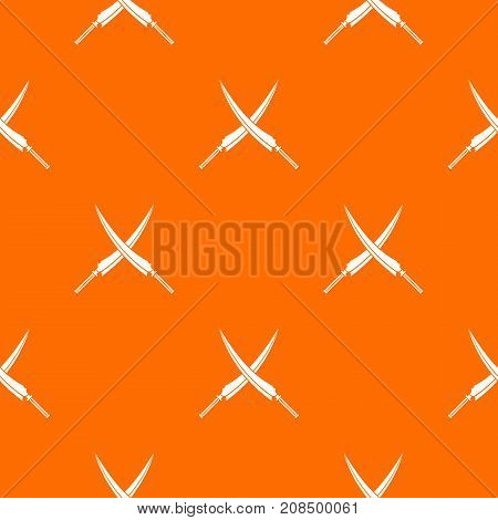 Samurai swords pattern repeat seamless in orange color for any design. Vector geometric illustration