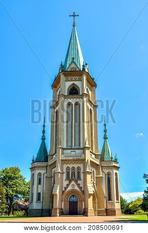 Beautiful historic church. Parish of the Blessed Trinity in Wilamowice in Poland.