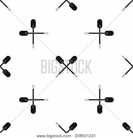 Two wooden crossed oars pattern repeat seamless in black color for any design. Vector geometric illustration
