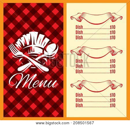 vector template for menu design with fork spoon.