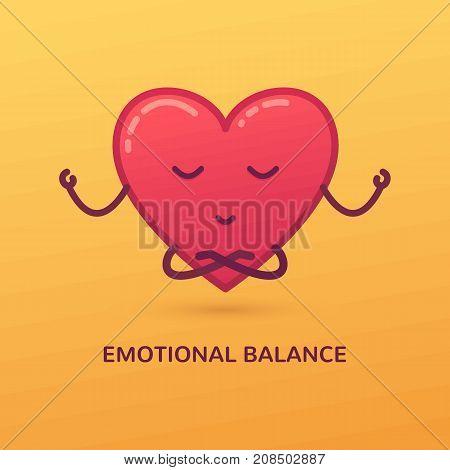 Vector cartoon illustration of meditating heart. Emotional balance card poster