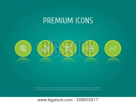Collection Of Stock Exchange, SEO Test, Cost Per And Other Elements.  Set Of 5 Engine Outline Icons Set.