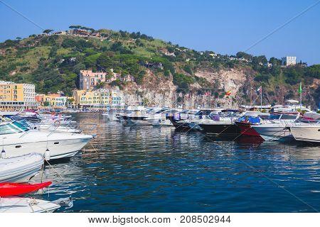 Yyachts Moored In Lacco Ameno Marina, Ischia
