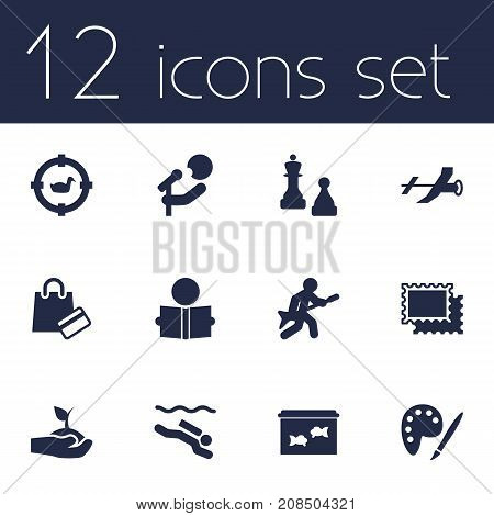 Collection Of Plant, Singer, Learning And Other Elements.  Set Of 12 Lifestyle Icons Set.