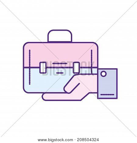 businessman with briefcase portfolio in the palm hand vector illustration