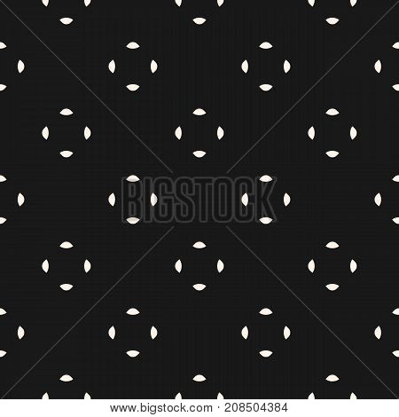 Universal vector seamless pattern. Simple black minimalist geometric texture. Abstract monochrome background with small rounded shapes. Repeat design for decoration, digital, covers, package, fabric.
