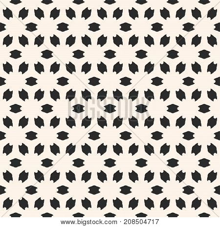 Abstract floral geometric seamless pattern. Simple vector monochrome texture with flower silhouettes. Subtle minimalist background, perforated surface. Design for prints, decor, linens, fabric, cloth. Floral background. Ornamental background.